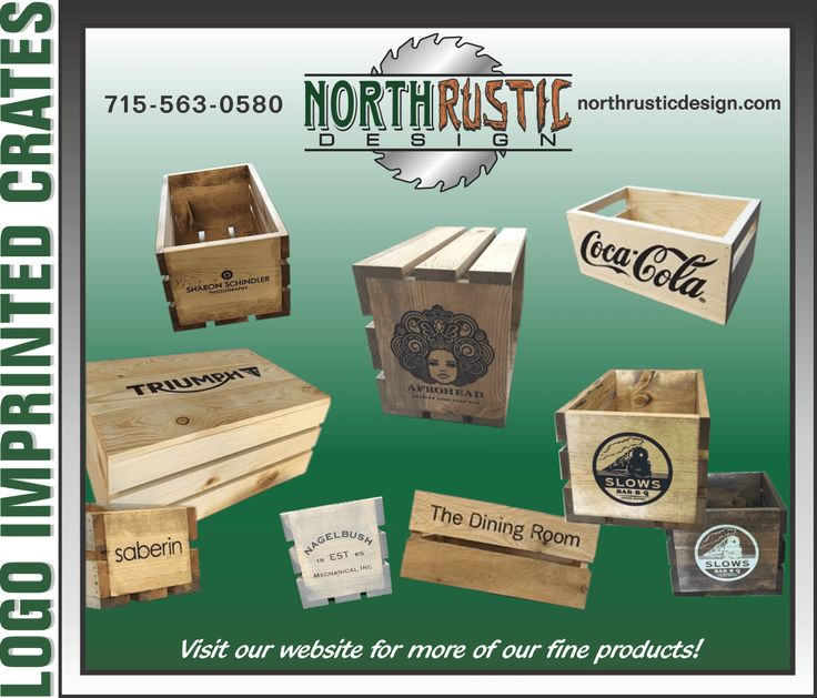 logo engraved wooden crates