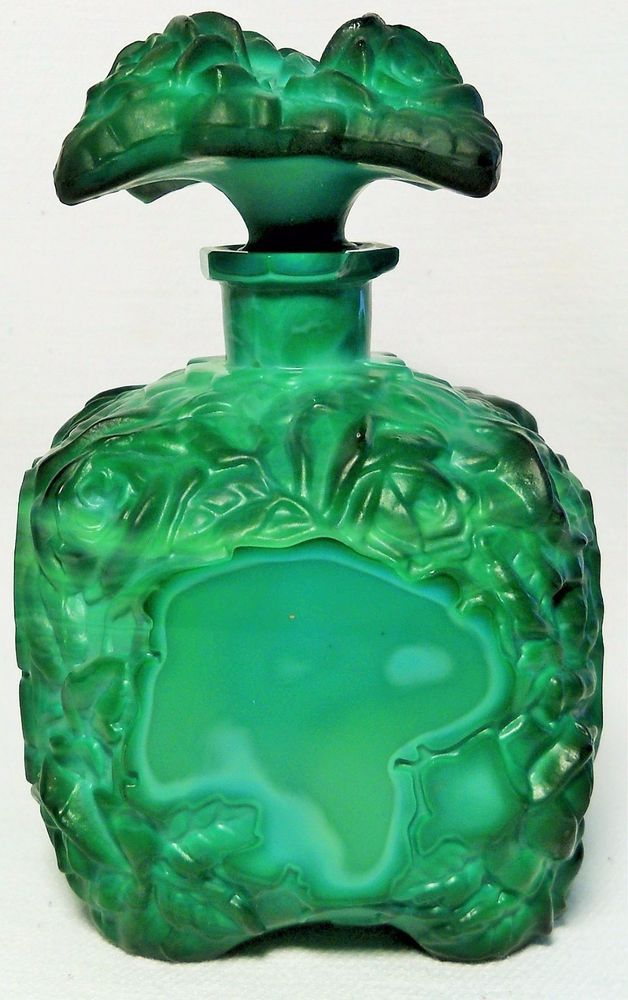 1930's Green Malachite Perfume Bottle W/Stopper-Art Deco Schlevogt-Czech Rep | Antiques, Decorative Arts, Glass | eBay!