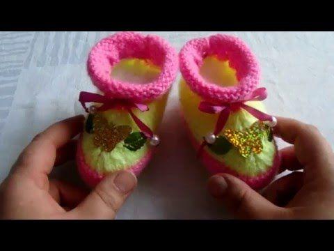 Пинетки спицами ботиночки очень простое вязание для начинающих - Мир моды