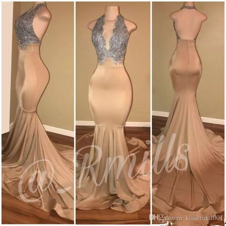 Silver Gold Champagne 2018 Prom Dresses Mermaid Sexy Backless Halter Neck Formal African Black Girls Evening Dress Pageant Gowns Prom Dresses 2018 Evening Dresses Online with $149.72/Piece on Kissbridal001's Store | DHgate.com