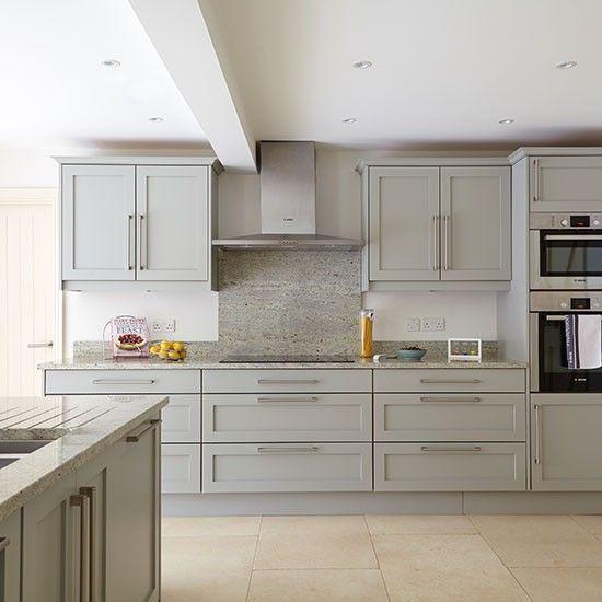 Grey kitchen with stone flooring | Kitchen decorating | Beautiful Kitchens | Housetohome.co.uk
