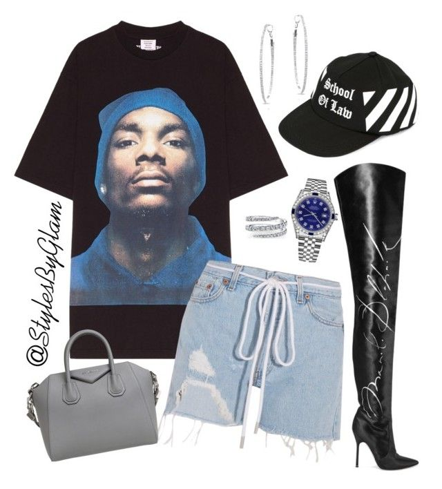"""""""Tha Doggfather"""" by stylesbyglam on Polyvore featuring Vetements, Off-White, Givenchy, Rolex and Anne Sisteron"""
