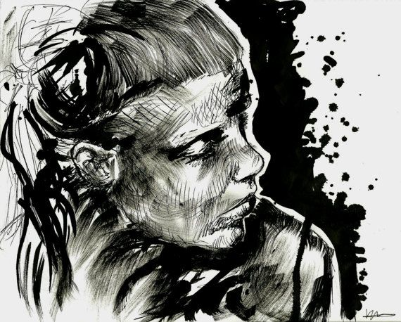 12x8 Ink Portrait Art Print pen and ink by KaterinaFineArt on Etsy