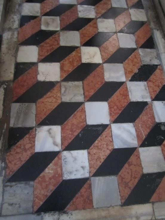 opus sectile polychromic marble pavement - geometric tiled floor, S. Giorgio Maggiore, 1565, Palladio - Venice, Italy