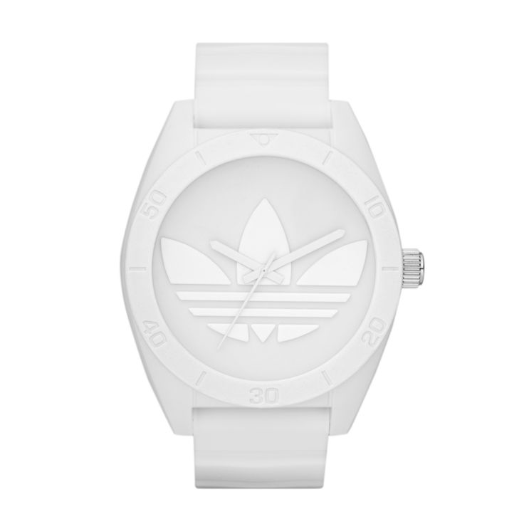 Matte-finish silicone transforms white from fashion neutral to unmistakably urban. Versatile and clean, this style is perfect for everyday. Santiago XL fuses the classic nature of Santiago with oversized street inspiration, making it the perfect addition to the Originals range.  R1399.00  http://www.watchrepublic.co.za/brand/adidas/men/adidas-santiago-xl-watch-1