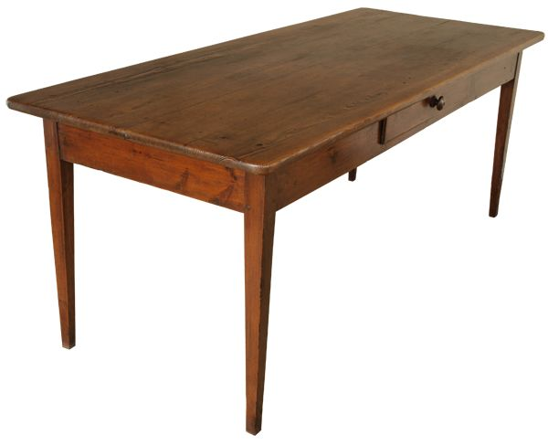 Antique French Pine Kitchen Table With Drawers. Classic Design With Tapered  Legs, Larger Apron