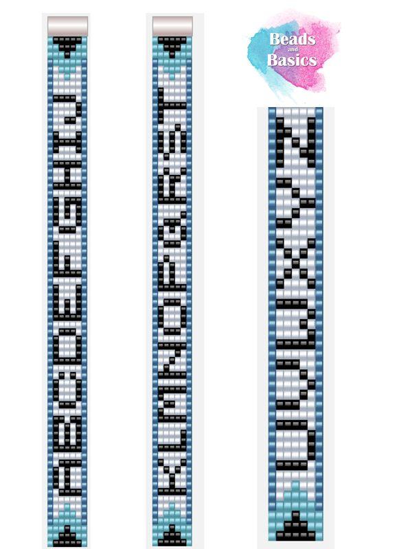 alphabet letters pattern A-Z for miyuki loom bracelets 5 colums