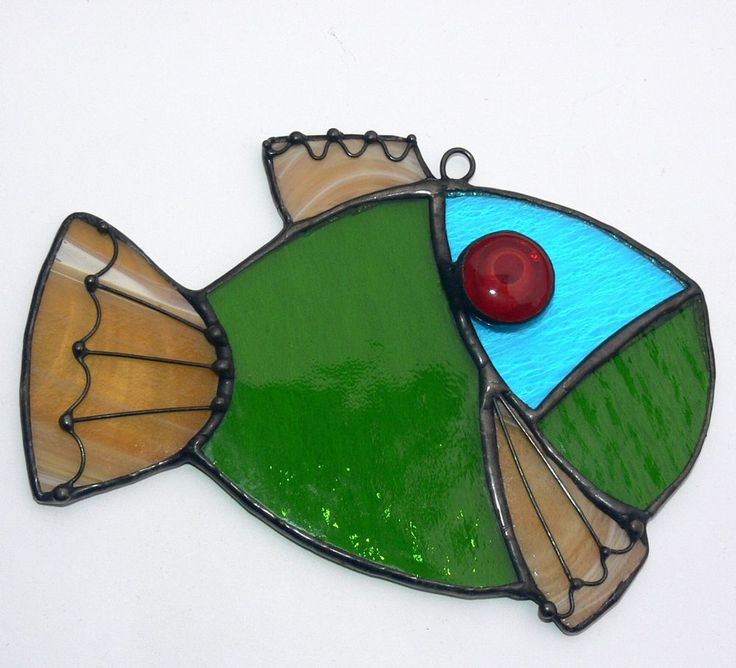 Handmade suncatcher stained glass fish home decor coastal for Stained glass fish