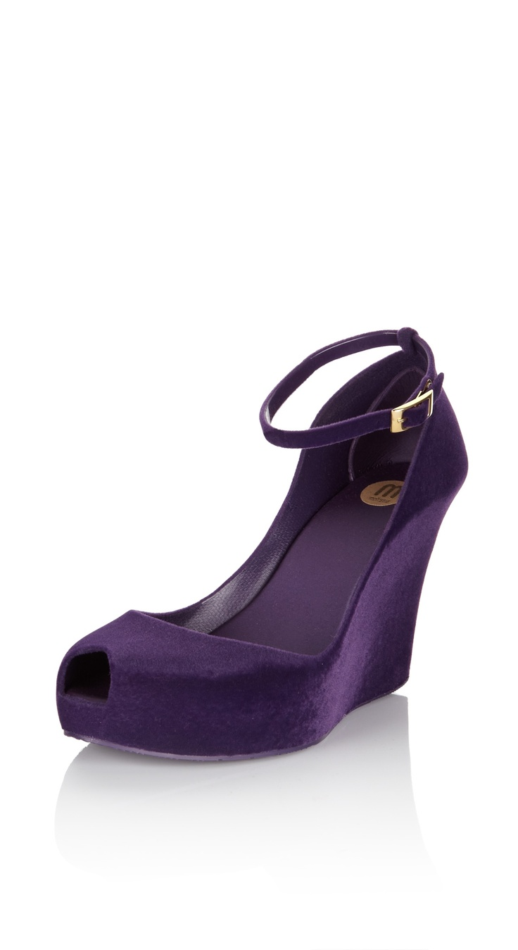 MELISSA SHOES Purple Flock Wedge With Strap