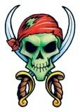 Classic Vintage Pirate Skull Tattoo