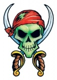 Classic Vintage Pirate Skull Tattoo