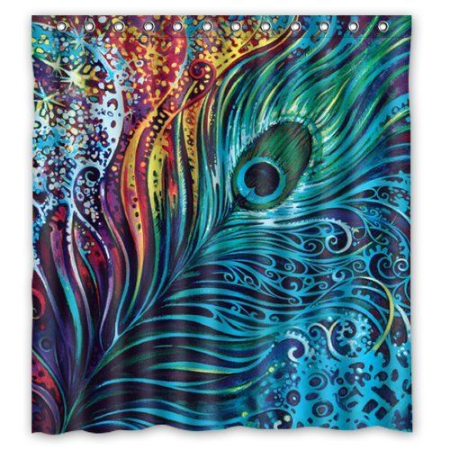 Beautiful Peacock Shower Curtain - Hotstyle Peacock Feather Bathroom Shower Curtains Polyester Waterproof 66 Wide x 72 High. Amazon $44. Would make beautiful wall hanging.