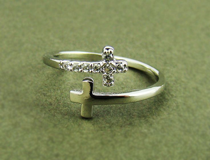 Women's Teen's Sideways Double Cross Ring with Crystal