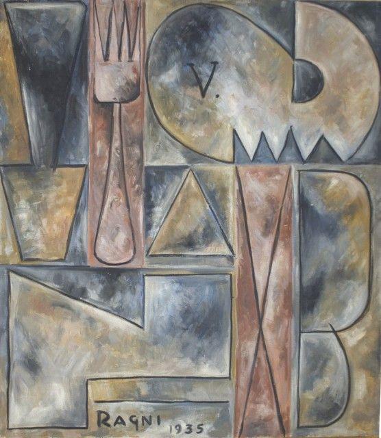 1935, Héctor Ragni (Bs As, Argentina 1897-1952): Constructivo con tenedor. Oil on canvas (36 x 31 in) 91,7 x 79,3 cm. Cecilia De Torres Ltd.