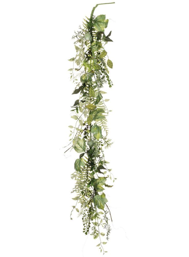 Artificial Mixed Foliage Greenery Garland in Two Tone Green - 48in. Long