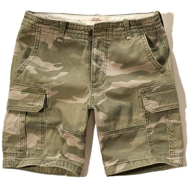 Hollister Classic Fit Cargo Shorts (240 ARS) ❤ liked on Polyvore featuring men's fashion, men's clothing, men's shorts, olive, mens camo shorts, mens camo cargo shorts, mens cargo shorts, mens camouflage shorts and mens camouflage cargo shorts