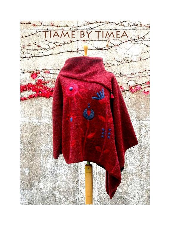 Red asymmetric poncho pullover with cowl