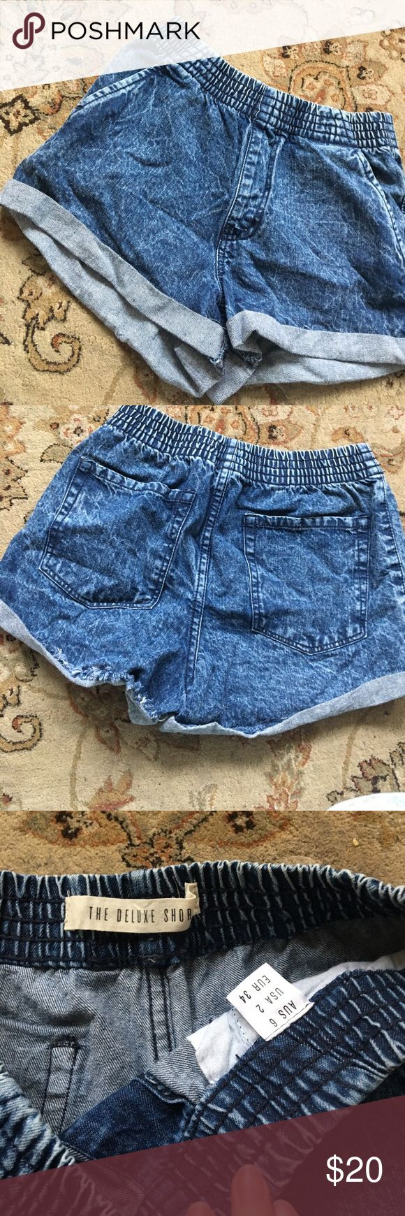 High waisted acid wash jean shorts High waisted acid washed jean shorts, worn twice, bought it at cotton on, size 2 super cute and has a stretchy waistband Shorts Jean Shorts