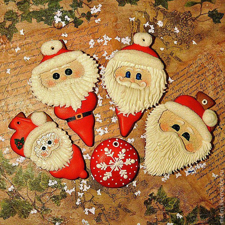 """Купить Пряники новогодние. Пряники новогодние """"Дед Мороз и Санта"""" - пряники новогодние, пряники новый год"""