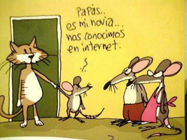Humor in Spanish: Parents...she's my girlfriend...we met on the Internet.