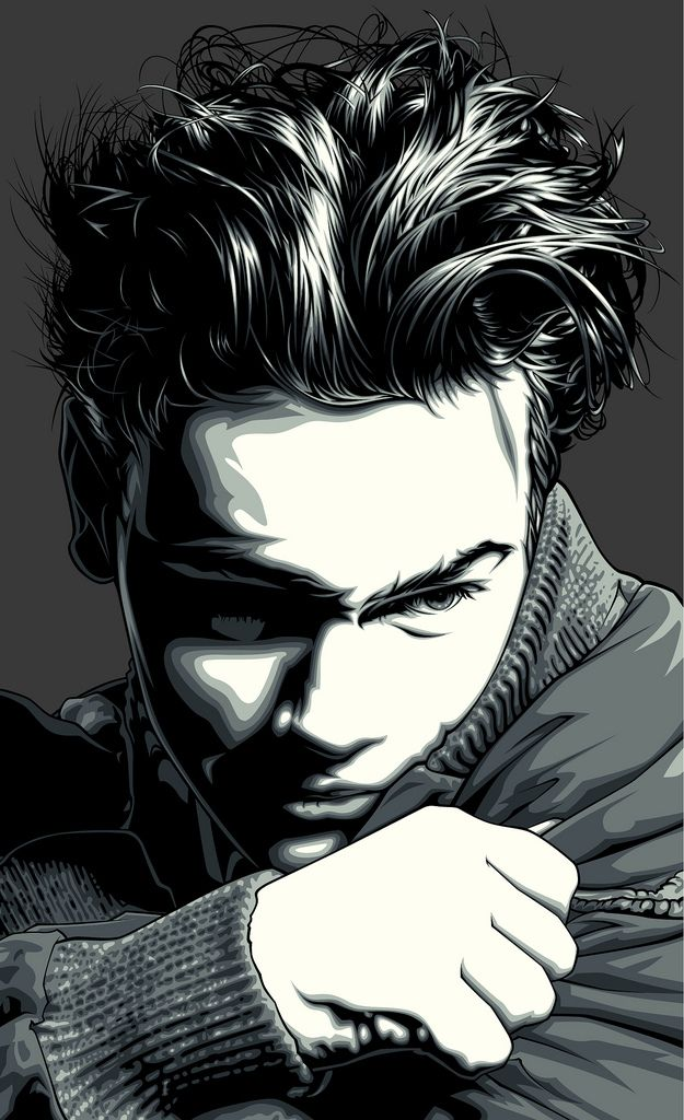 Personal, non-commercial artwork of the late actor River Phoenix.  I referenced a photograph that I found in a book about Paper Magazine. The photographer was uncredited.  I planned and sketched out the artwork in Photoshop CS4 using the photo as a reference and I finalized the artwork as vectors in Adobe Illustrator CS4.  River Phoenix is one of my favorite actors.