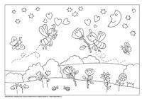 Kleurplaat bij thema bijen!