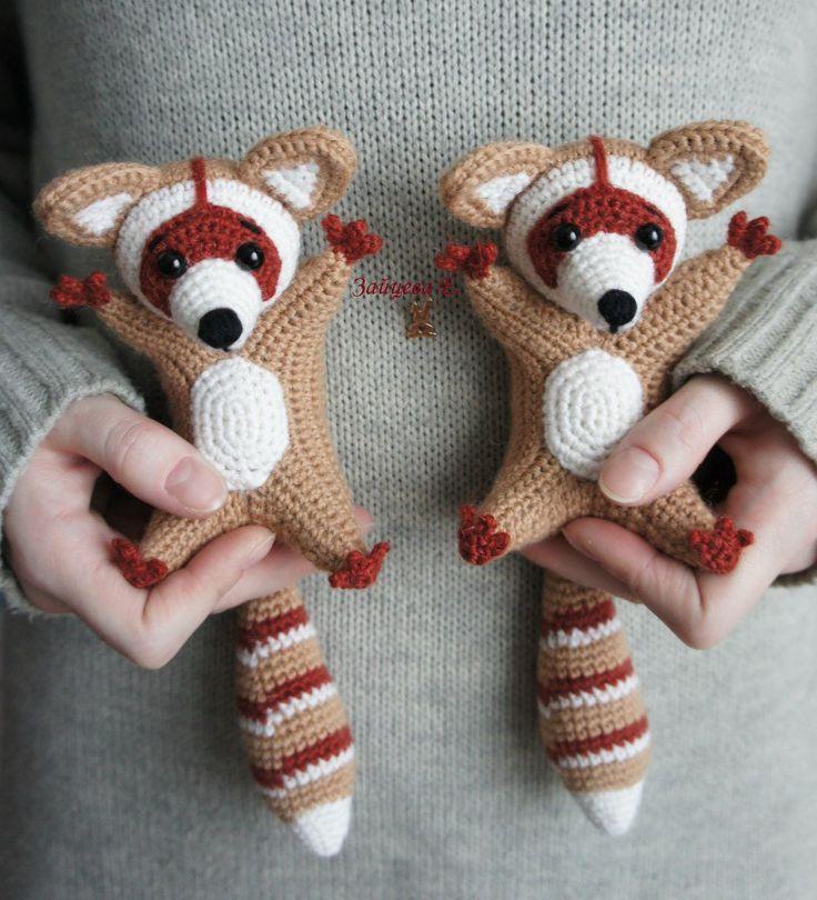 Knitted toys crochet knitting scheme raccoon amigurumi description