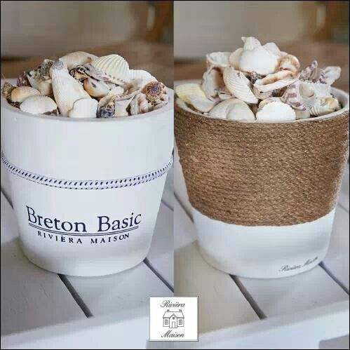 Good idea for all those shells I bring home from the beach EVERY single time. Flower pots, twine, whitewash, etc.