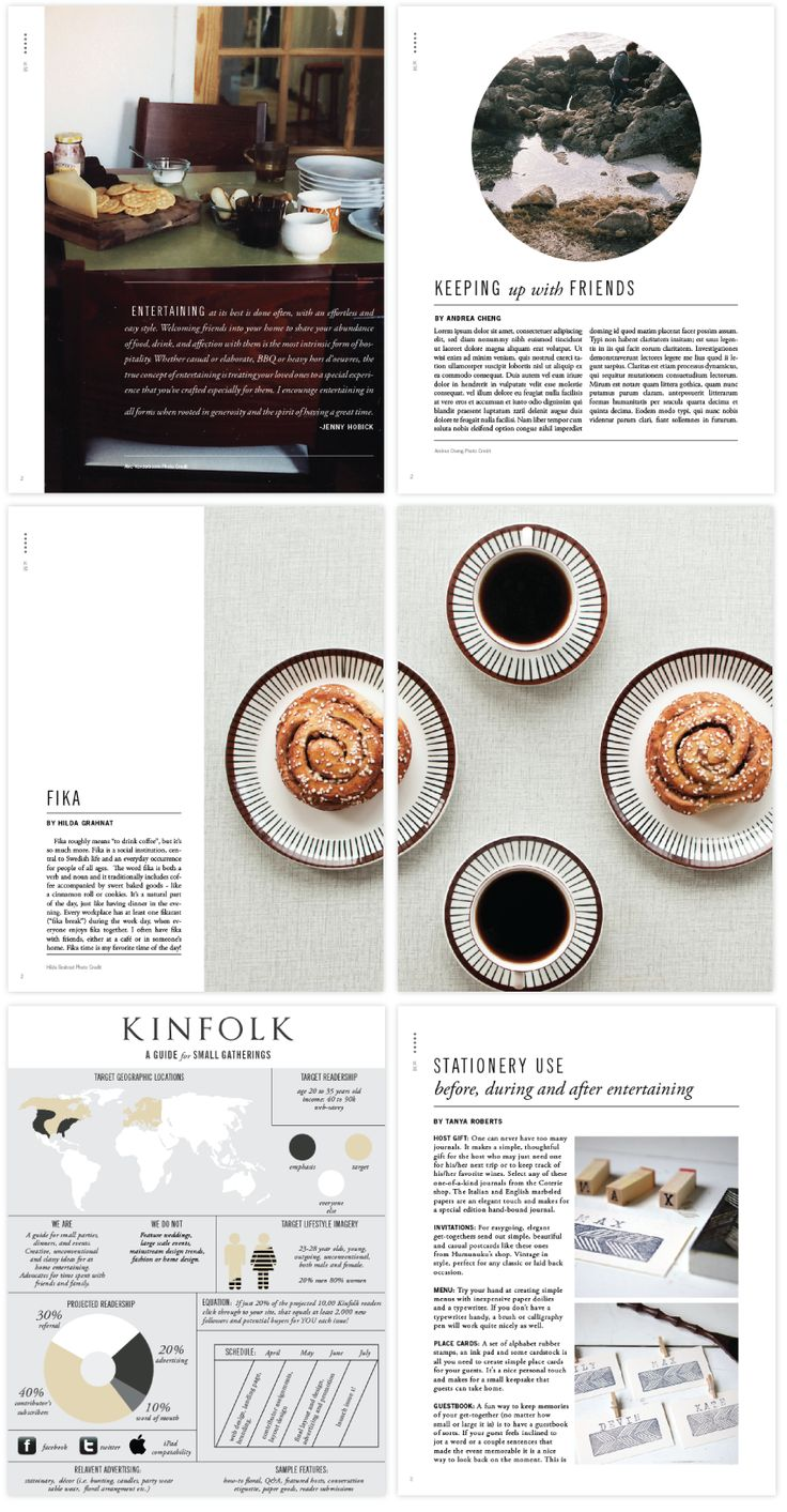 Beautiful layout: cropped photos + type in margin, type on photos, beautifully-colored infographics