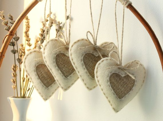 Set of 4 Felt Heart Ornaments, Home decor, Favors for Valentine's Day, Rustic hearts on Etsy, $27.00