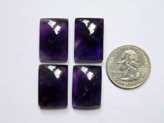 4 Pieces Lot Aesthetic Amethyst Gemstones Baguette Shape