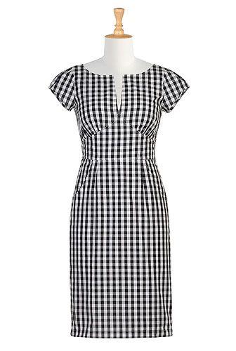 Gingham check pin-up sheath dress