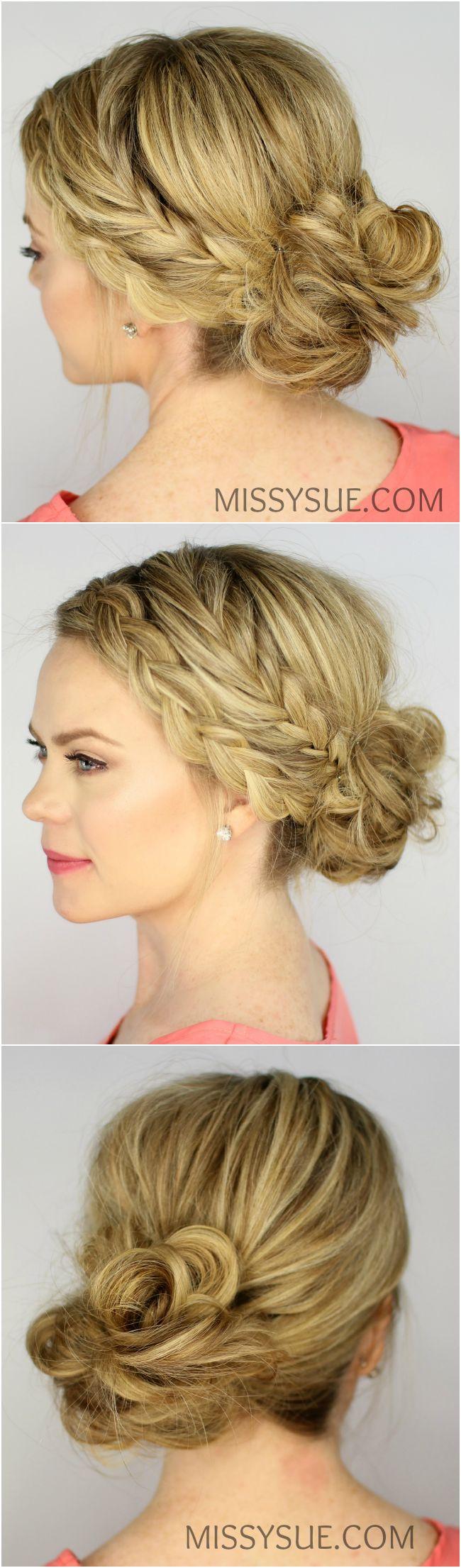 Fishtail and Dutch Braid Messy Bun | Missy Sue