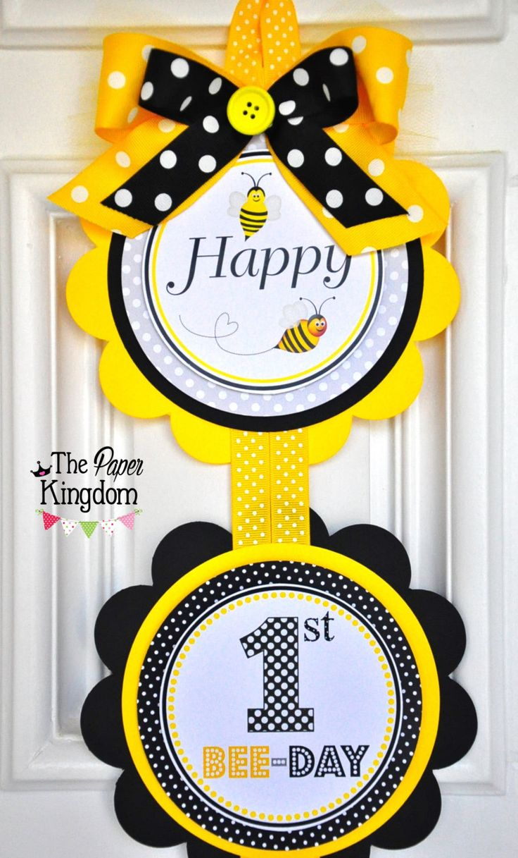 Bumble Bee Door Sign, Vertical Door Hanger, Bumble Bee Birthday Party by thepaperkingdom on Etsy https://www.etsy.com/listing/98105207/bumble-bee-door-sign-vertical-door