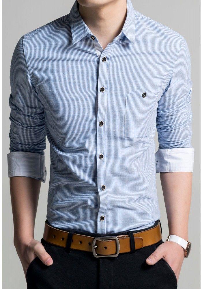 laila blue striped roll up sleeves men shirt mens shirts