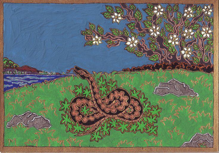 """Rézkígyó, 2007, Skorpió Vénusz. """" Bevezet az élet nagy erőibe, amelyeket ő tart szemmel. A Nagy Istennő megtestesüléseként az ősi, női misztikummal egyesít minket. """" Jane Ruland"""