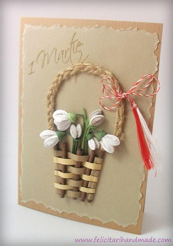 Felicitare de 1 Martie  cu ghiocei quilling în coșuleț împletit / Springtime quilling card with snowdrops in a weaved basket