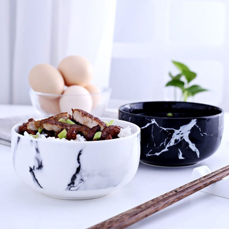 Marble grain rice bowls kitchen dinnerware home decoration creative design ceramic bowl noodle soup bowl ceramic tools-in Bowls from Home & Garden on Aliexpress.com | Alibaba Group