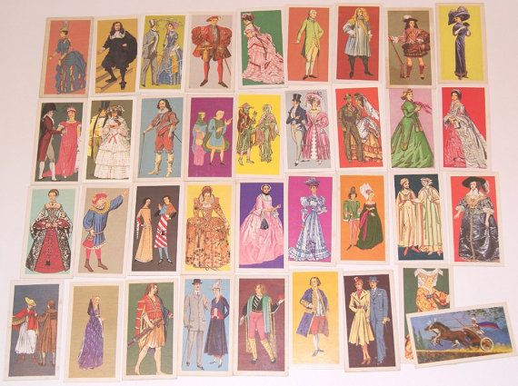 Lot of 36 vintage Costume Tea Cards Brooke Bond scrapbooking collage mixed media art crafts by scrapitsideways, $5.40