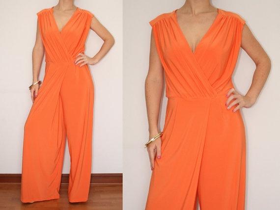 Awesome  Women Slash Neckline Zip Detail Fitted Waist Slim Orange Jumpsuit