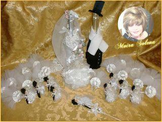 Bottiglie decorate, bomboniere e segnaposto per il 60esimo Anniversario di matrimonio dei miei genitori.