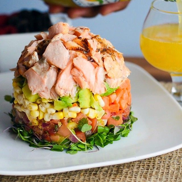 love this! Ingredients: micro greens, pico de gallo or tomatoes, corn & carrots, avocado, baked salmon. Just add a nice vinaigrette.