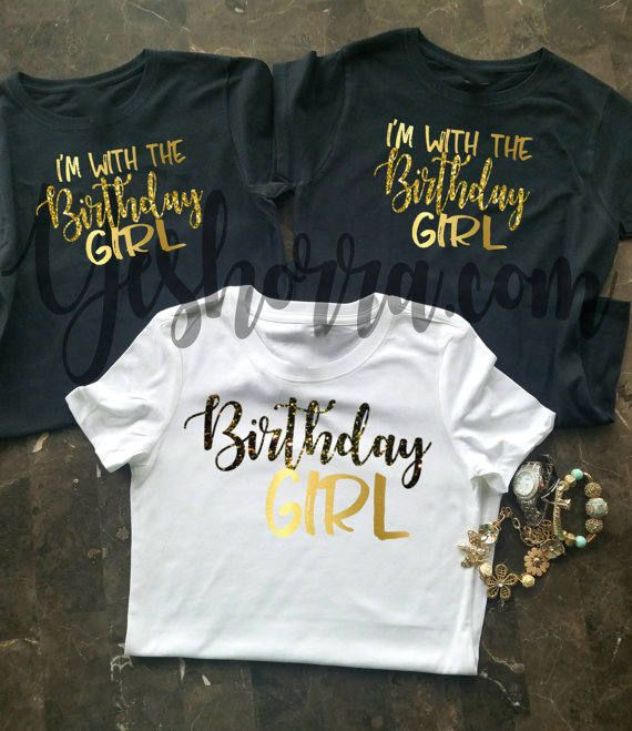 Its your birthday! You and your crew will look super cute while you celebrate with these gorgeous t-shirts. ***This Designs Features Distressed Fonts.  This shirt is a true to size Missy fit Gildan Brand Ladies Tee. SHIRT SPECIFICATIONS:  5.3 ounce 100% cotton jersey knit Pre-shrunk Double needle sleeve and bottom hem Taped neck and shoulders Tearaway label Seamless double needle 1/2 collar Semi-fitted contoured silhouette with side seam Cap sleeves  PLEASE SEE SIZE CHART IN PHOTOS FOR MORE…