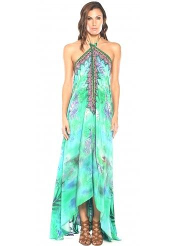 Parides Aqua Green Amazonia 3 Ways To Style Dress in Palm at Pesca Boutique. Style yours with embellished sandals and a glowing tan. - Price: $341.00