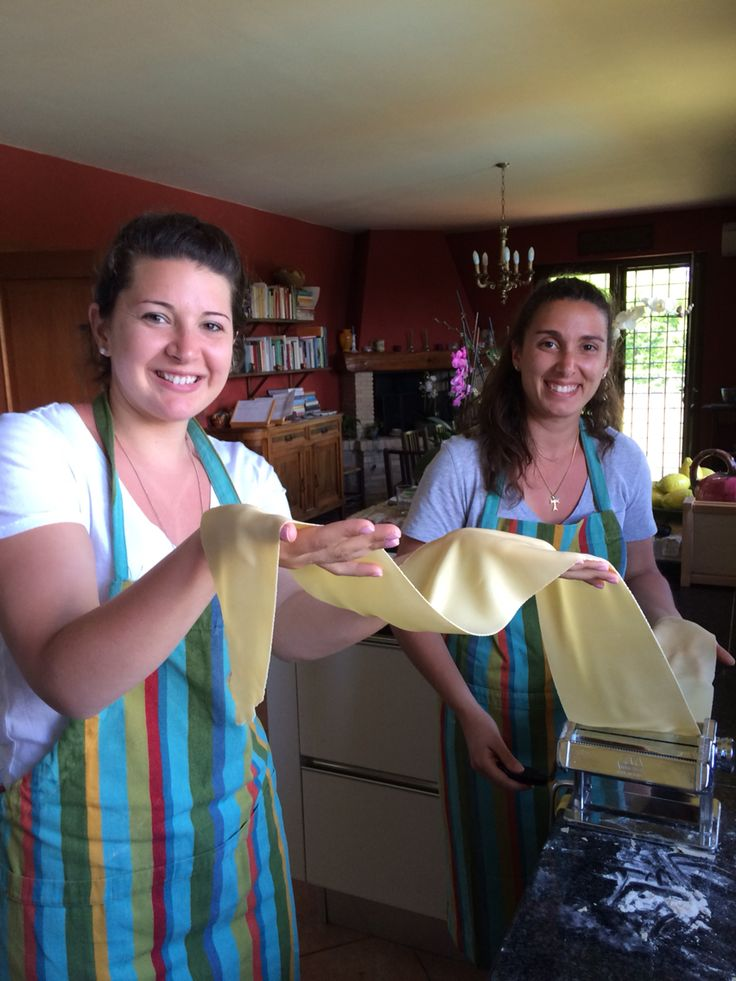 #Pasta making class at flavorofitaly.com. They loved making a super long #sfoglia, or sheet of pasta!