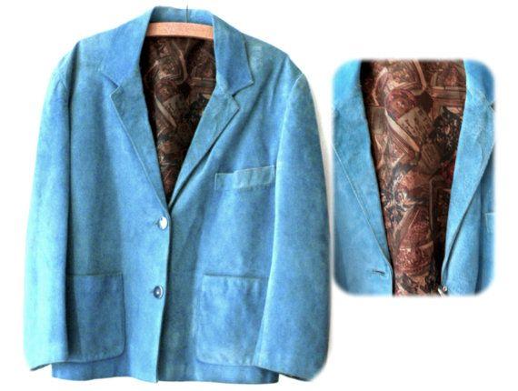 Chaqueta de ante azul turquesa. Años 70 80. 70s por MeAndTheMajor, €12.00