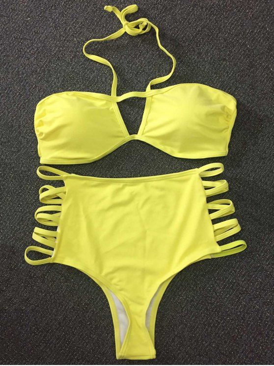 AD : Cut Out High Rise Yellow Bikini Set - YELLOW   Swimwear Type: Bikini   Gender: For Women   Material: Nylon,Polyester   Bra Style: Push Up   Support Type: Wire Free   Collar-line: Halter   Pattern Type: Others   Waist: High Waisted   Elasticity: Elastic   Weight: 0.2700kg   Package: 1 x Bra 1 x Briefs