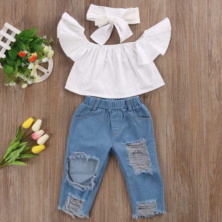 Cute Toddler Girls Kids Off Shoulder Blouse Tops Denim Pants Jeans Headbands 3pcs Outfits Set Clothes #Affiliate