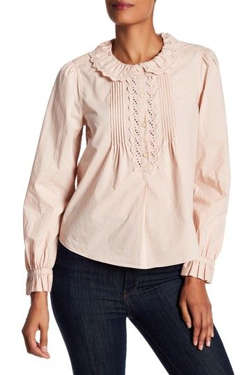 La Vie Rebecca Taylor Eyelet Peter Pan Collar Blouse