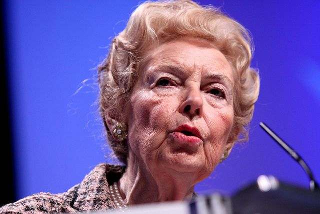 Conservative Activist Urges Republicans To Forget Hispanics, Work Harder At Courting Whites. Phyllis Schlafly often criticizes Hispanics, claiming they don't share our 'American values' and higher minority birth rates are 'not a good thing.'